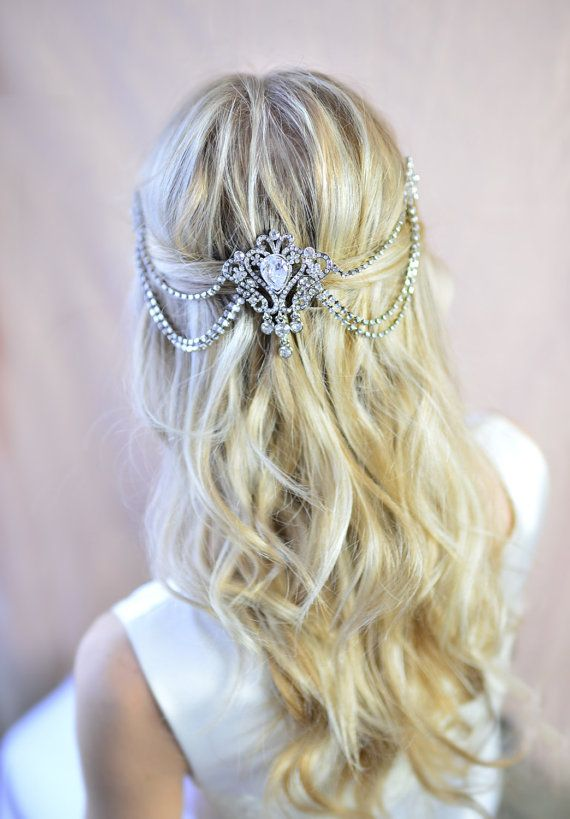 Hochzeit Haar-Kamm drapiert, Bridal Grecian Haircomb, Bridal Haare wickeln, Boho Haircomb, Boho drapiert Kette Haircomb - 'VICTORIA'
