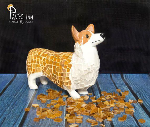 Welsh Corgi Pembroke Figurine Corgi Mosaic Statue Dog
