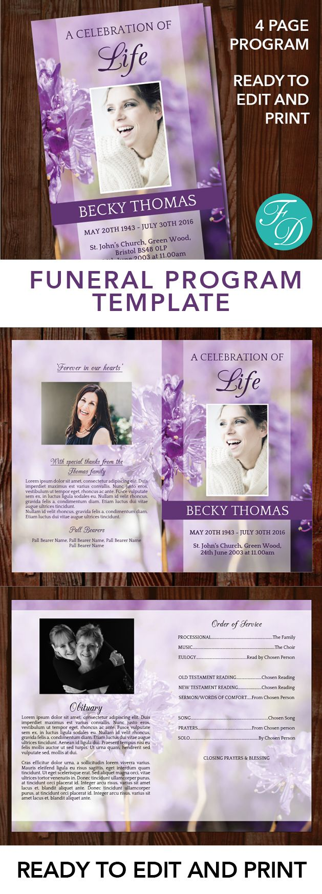 Purple flowers Printable Funeral program ready to edit & print. Simply purchase your funeral templates, download, edit with Microsoft Word and print. #obituarytemplate #memorialprogram #funeralprograms #funeraltemplate #printableprogram #celebrationoflife #funeralprogamtemplates