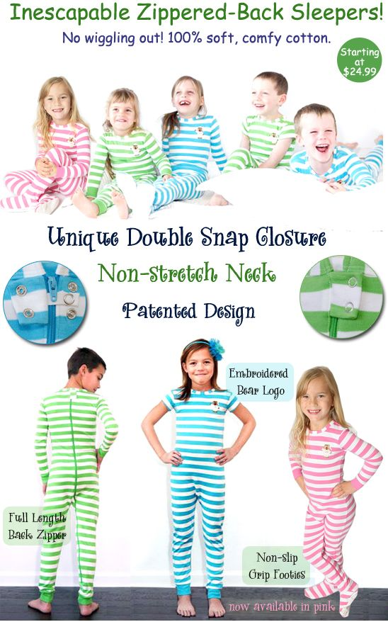 Toddler Sleepwear, no more taking off diaper, zippered back pajamas, that are child proof, to stop little escape artists!