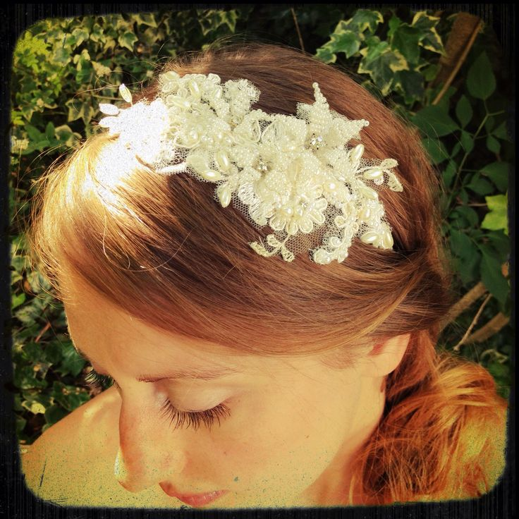Handmade seed bead flowers with crystal centres on embellished lace with crystals and pearls