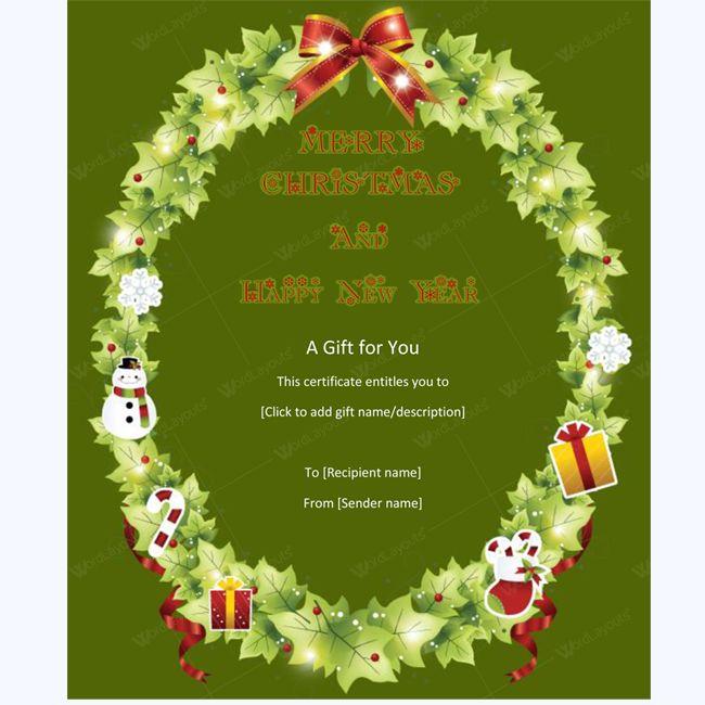Elegant Christmas Gift Certificate Template #christmascard #chirstmascertificate #christmasgiftcard #christmas