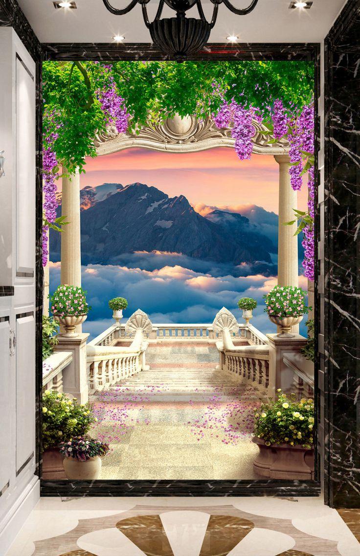 les 10 meilleures images du tableau papier peint paysage romantique trompe l 39 oeil 3d de www. Black Bedroom Furniture Sets. Home Design Ideas