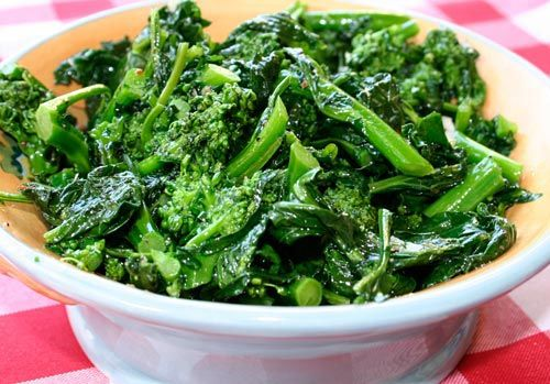 broccoli rabe...tho' i cook mine in chicken broth ...