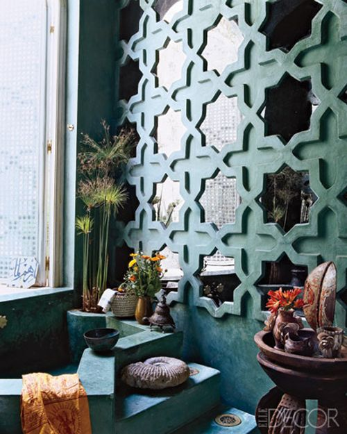 Moroccan woodwork overlaying mirror. Love that teal!  This is an Elle Decor image.  You can learn more about Moroccan decor in my book, Marrakesh by Design: http://www.amazon.com/Marrakesh-Design-Maryam-Montague/dp/1579654010/ref=sr_1_3?s=books=UTF8=1322772271=1-3