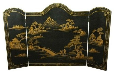 Ming Design Lacquered Oriental Fireplace Screen - asian - fireplace accessories - Oriental Furniture