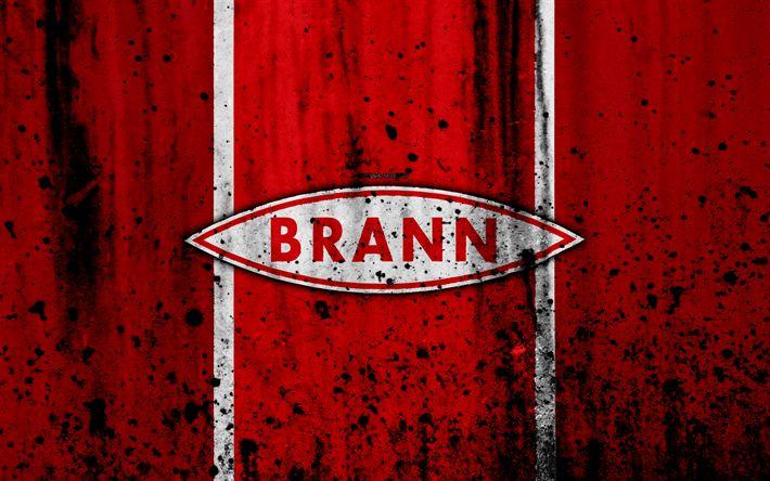 Download wallpapers 4k, FC Brann, grunge, Eliteserien, art, soccer, football club, Norway, Brann, logo, stone texture, Brann FC