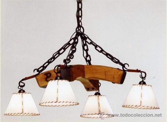 LAMPARA COLGANTE RUSTICA  CRUZADA ,EN HIERRO Y MADERA. 4 LUCES #artesaniasenmadera