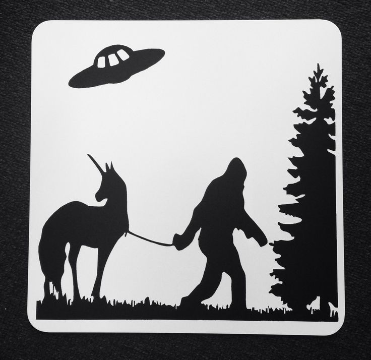 A personal favorite from my Etsy shop https://www.etsy.com/listing/262769432/bigfoot-leading-a-unicorn-with-ufo
