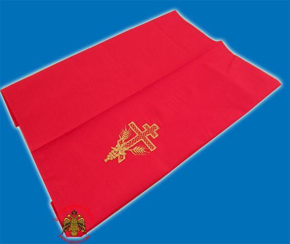 Maktro Holy Communion Divine Liturgy Purificator Burgandry Cotton Cloth with Gold Thread Russian Cross Design