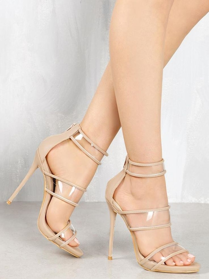 Beige Strappy Open Toe High Heels