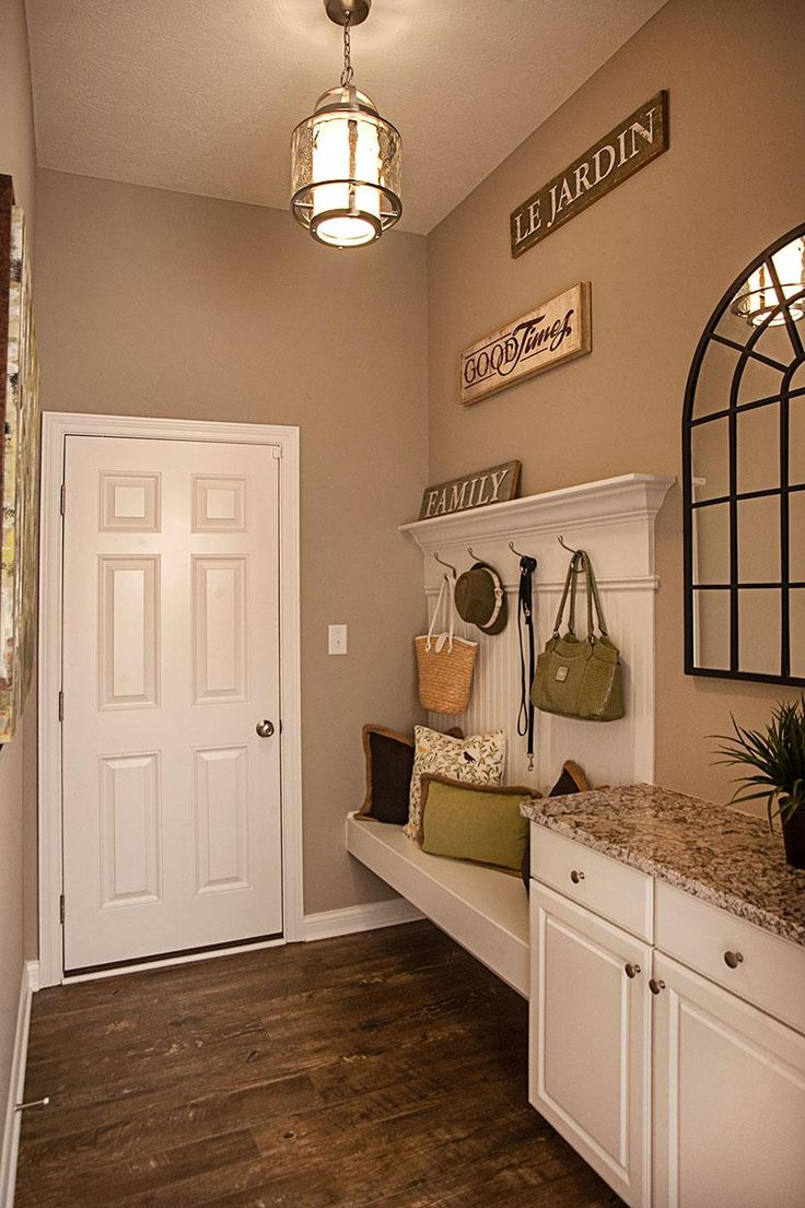 Beautiful Family Foyer With Bench And Cabinet Storage; The Sasha Floor Plan, Drees  Homes,