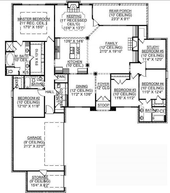 #653725 - 1 Story 5 Bedroom French Country House Plan ...