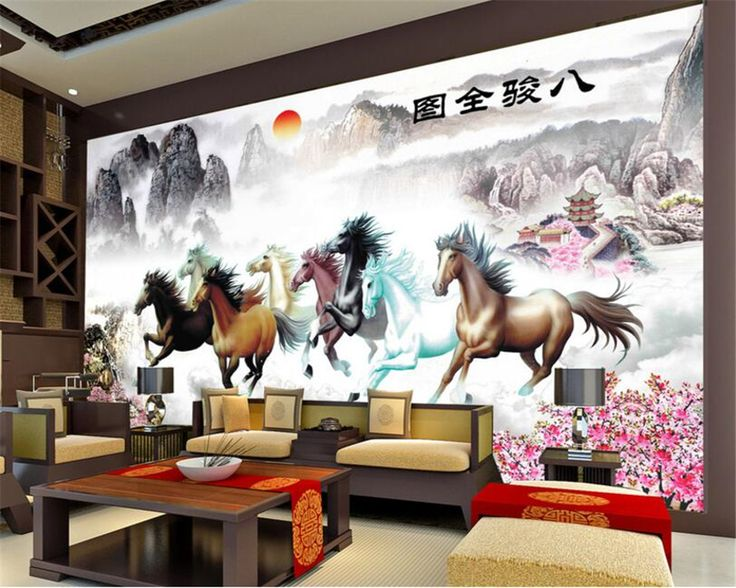 Beibehang Custom Photo Wallpaper 3D Animals Eight Horse Landscape Wallpaper  Living Room Bedroom Sofa Background 3D Part 80