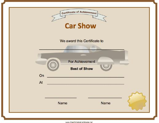 A car and gold seal decorate this Car Show Best of Show Certificate. Free to download and print