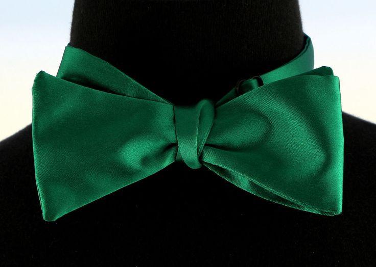 Mens Self Loop Poly Satin Bow Tie Wedding Prom Dress Christmas Green Bowtie New…