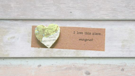 Singapore map magnet: heart shaped magnet made with a vintage map