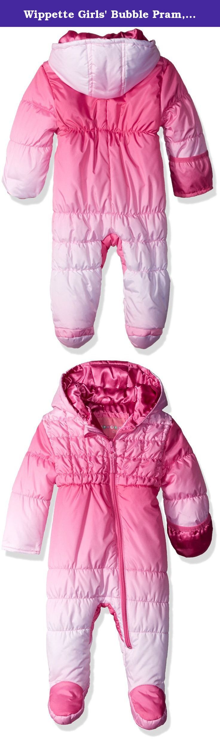 Wippette Girls' Bubble Pram, Pink, 12 Months. Wippette baby girls dip dye bubble quilted snowsuit.