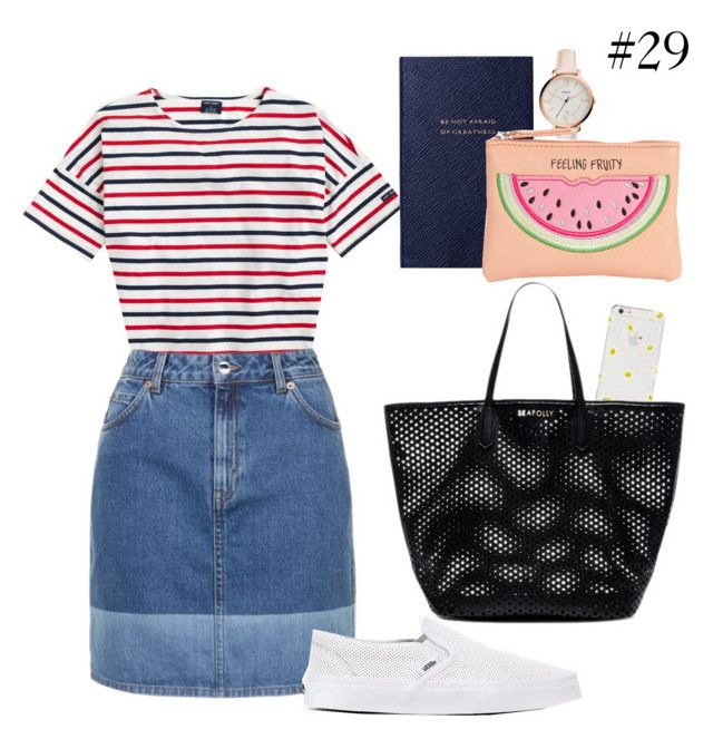 """#29"" by jovitapsutiono ❤ liked on Polyvore featuring Saint James, Topshop, Kate Spade, Vans, Seafolly, Smythson, FOSSIL and New Look"
