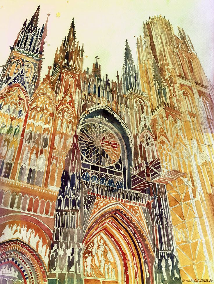Having studied architecture at a Polish university, Maja Wronska gracefully paints on paper the ornamented facade ofRouen Cathedral, as sho...