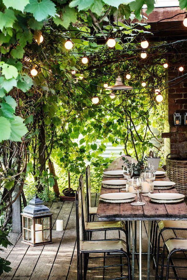 Draussen Essen Lichtergirlande Terassenideen Gartenbeleuchtung