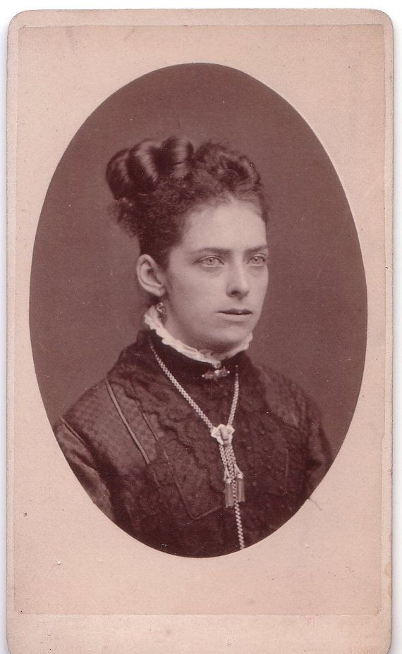 Antique Victorian Carte de Viste of photo of Woman with Jewelry