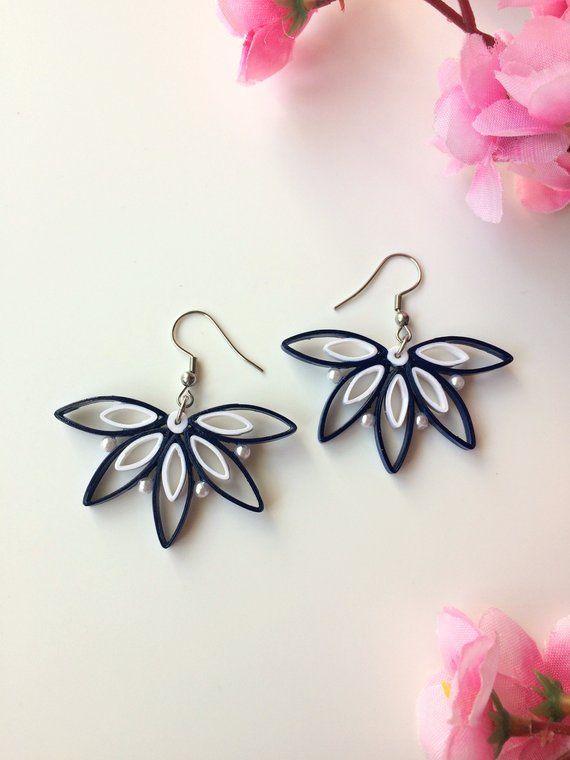 Blue And White Flower Bridesmaid Gift Earrings Asymmetrical Boho