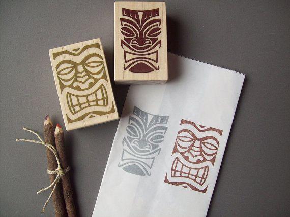 Jeu de tampons en caoutchouc Tikis hawaïen de 2 par stampcouture