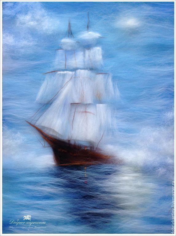"""Парусник"" - парусник,парус,паруса,корабль,море,туман,картина,картина из шерсти | картины из шерсти | Постила"