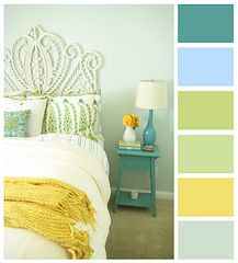 So cheery and fresh.: Colors Pallets, Colors Palette, Colors Combos, Bedrooms Colors, Blue Green, Bedroom Colors, Living Room, Blue Yellow, Colors Schemes