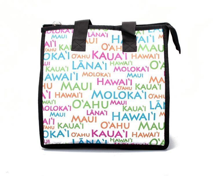 Hawaiian Print Thermal Insulated Zipper Lunch Bag Hawaii Island Names in White