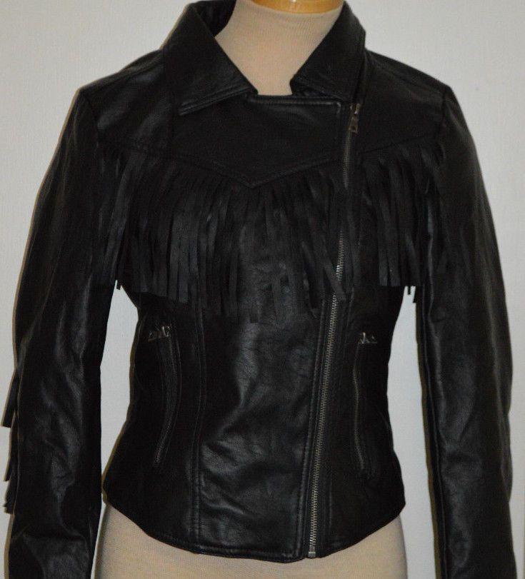 Ladies Rue 21 Black Fringe Faux Leather Slant Zip Jacket Coat Juniors Sizes S, M #rue21 #BasicJacket