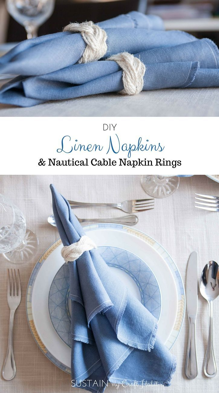 DIY Linen Napkins and Nautical Cable Napkin