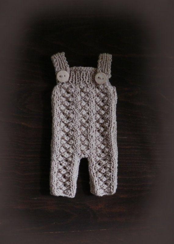 Cream Hand Knit Baby Romper/ Newborn Photo by GabriCollection