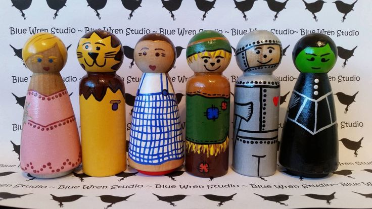 Wooden Peg Dolls - Wizard of Oz by bluewrenstudios on Etsy