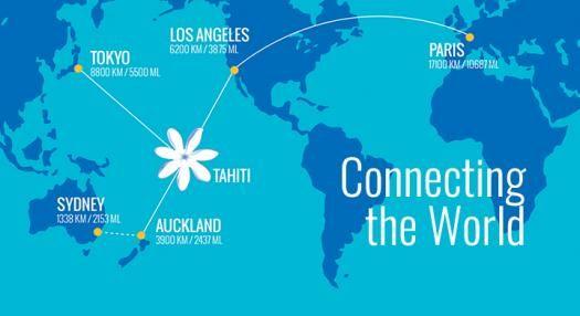 Air Tahiti Nui Route map - flying to paris, Los Angeles, Tahiti, Auckland and Tokyo