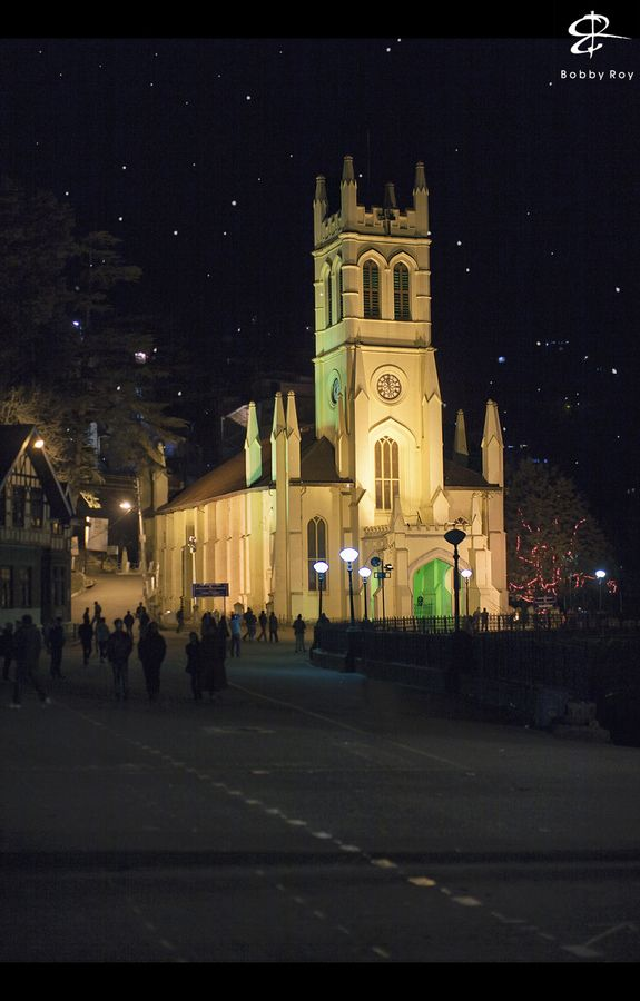 A chilly, starry winter night, and the beautifully lit Christ Church located on Mall Road, Shimla. :)    © 2012 Bobby Roy Photography.  http://www.Facebook.com/BobbyRoyPhotography