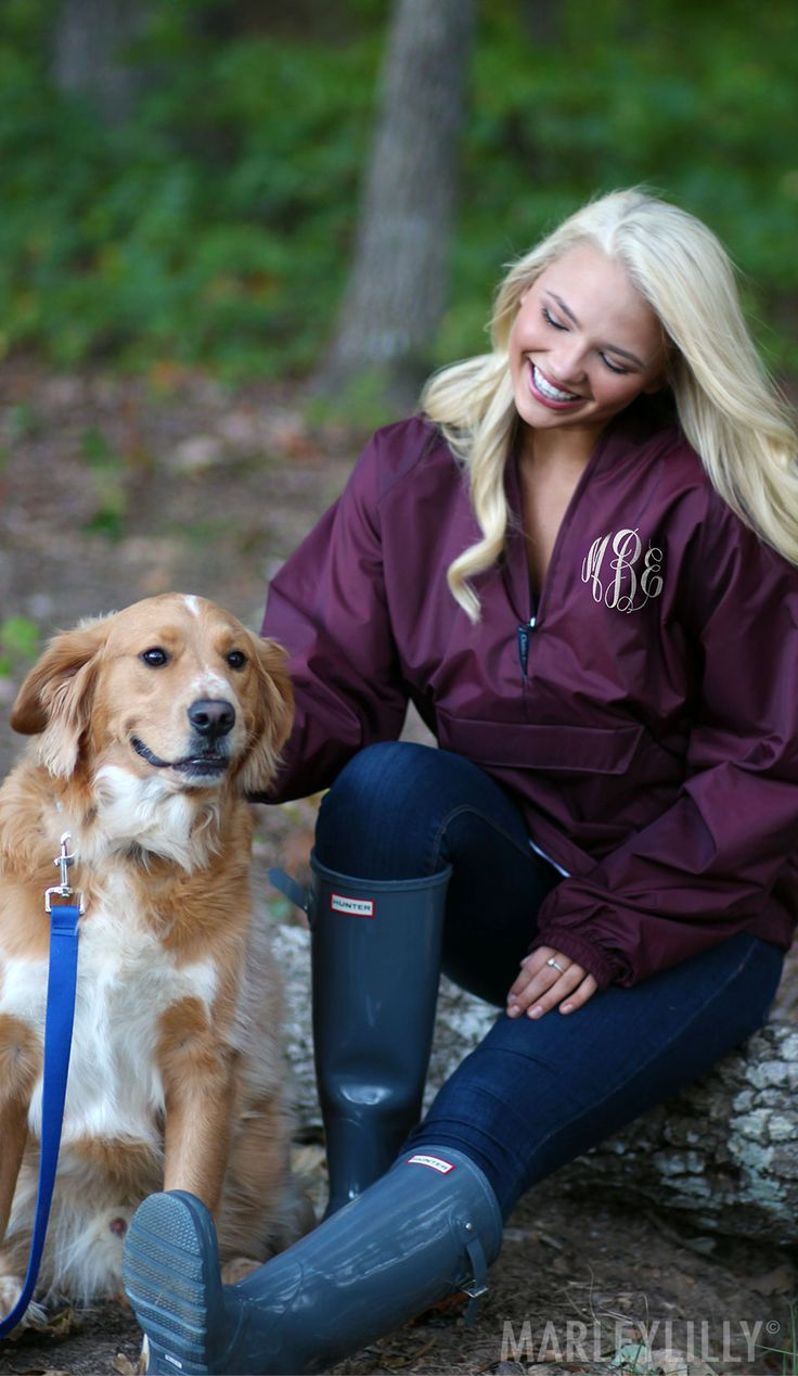 Marleylilly Monogrammed Pullover Rain Jackets are the best way to stay warm & dry during a rainy day! Shop now! https://marleylilly.com/product/monogrammed-pullover-rain-jacket/