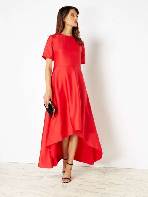 5911489cf308 ISSA Isabella Satin Dip Hem Dress - House of Fraser