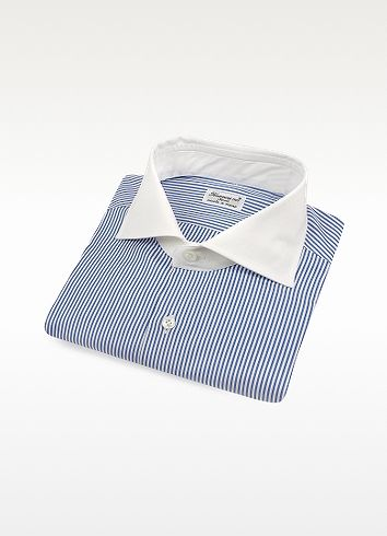 Finamore Blue Stripe w/ White Collar Italian Handmade Cotton Dress Shirt