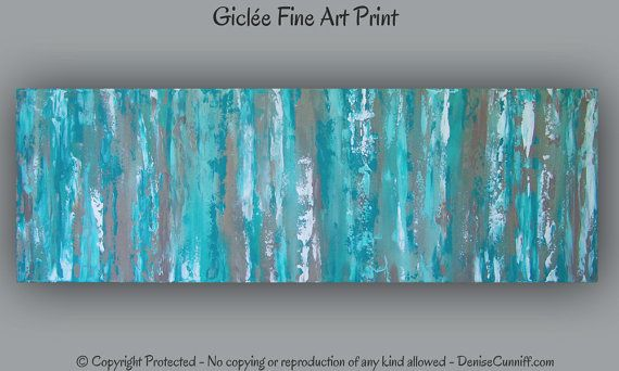 Teal Color Wall Decor : Large wall art abstract painting teal home decor