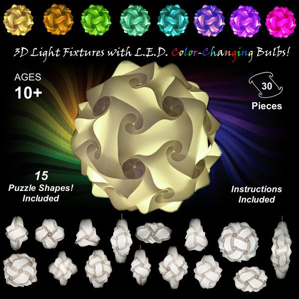 Puzzle Lights - Colorful Hanging Light Fixtures & Lamp Shades with L.E.D. Color-Changing Bulbs