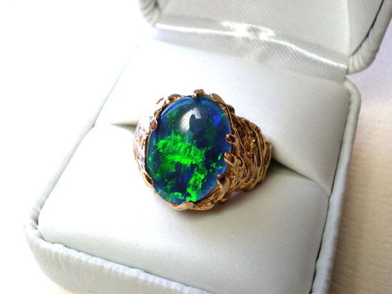 Vintage opal ring mens or womens black opal by IvoryCatCreations, $950.00