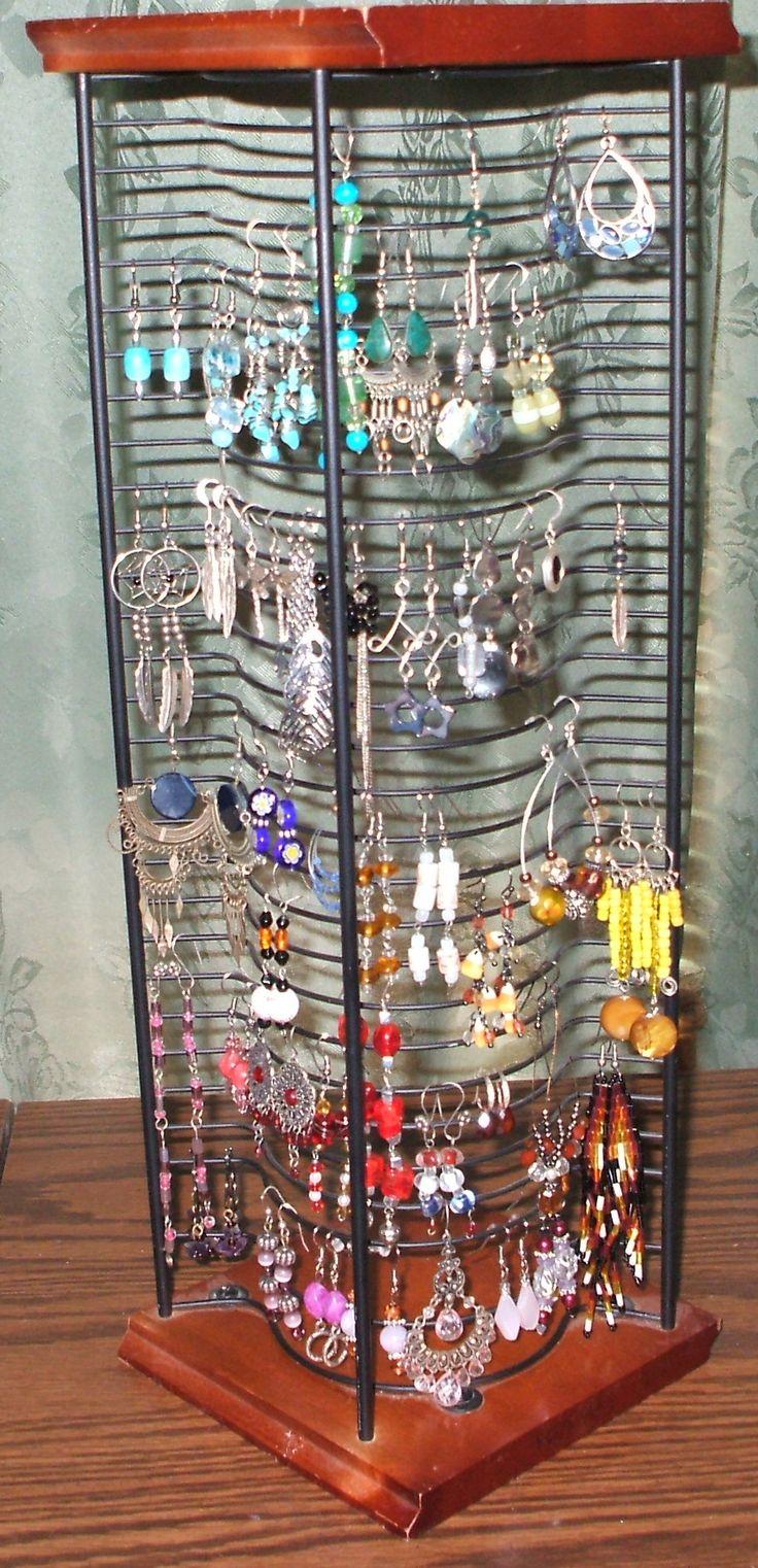 Re-purposed cd rack ---> earrings organizer                                                                                                                                                                                 More