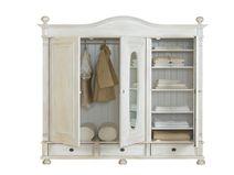 Kleiderschrank 3-türig mit Spiegel massiv Holz