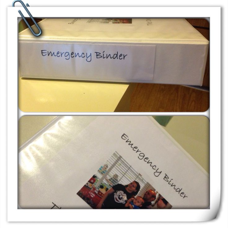 Emergency Binder: doctors/medical info, copy of birth certificates, family phone numbers and addresses etc. Great to have for babysitters and unexpected emergencies. Keep it at a easy location!