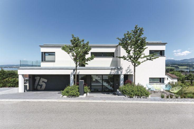 Bauhaus Stadtvilla Mit Garage   Moderne Fertighaus Villa Mit Flachdach Von  WeberHaus   HausbauDirekt.de
