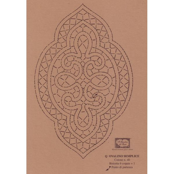 tombolo e disegni - Disegno Ovalino n. 125. Disegno su cartone per pizzo al tombolo per realizzare un inserto per tende o tovaglie a punto tela e cordette. cm. 16x10