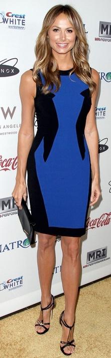 Stacy Keibler: Dress – Prabal Gurung    Shoes – Giuseppe Zanotti    Purse – Lanvin    Earrings – Jamie Wolf    Rings – Ariel Gordon