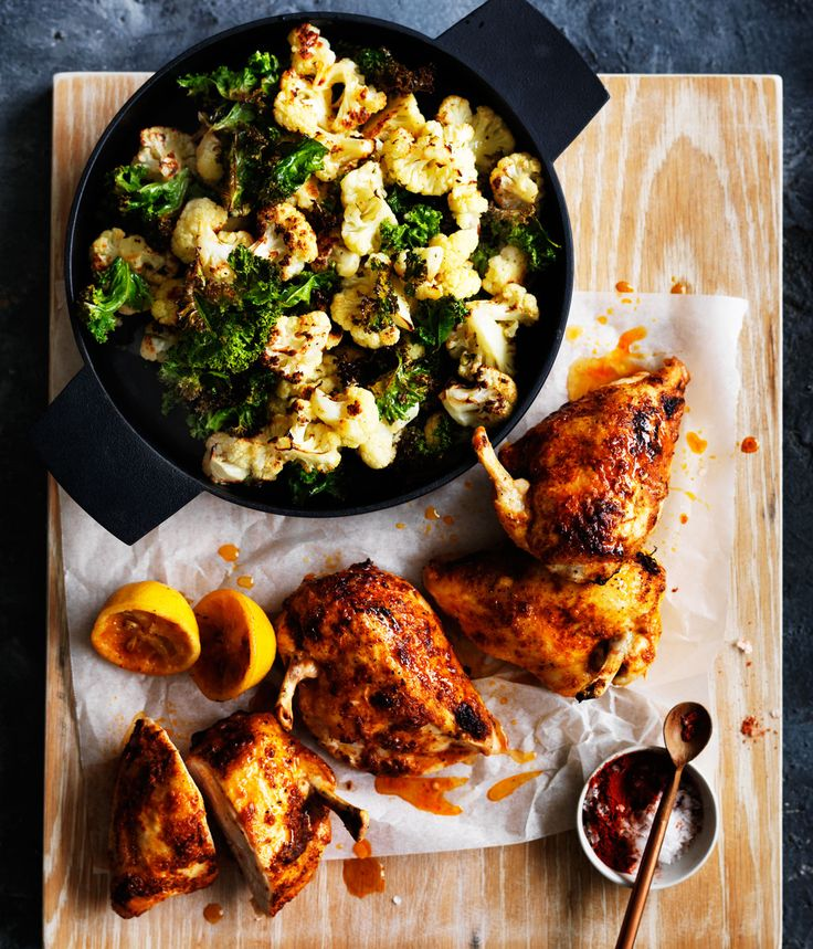Change up your chicken with sweet paprika, chilli and a side cauliflower and kale salad.